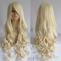 80CM Heat Resistant Long Curly Cosplay Wavy Wig 9 colors + Free  gift
