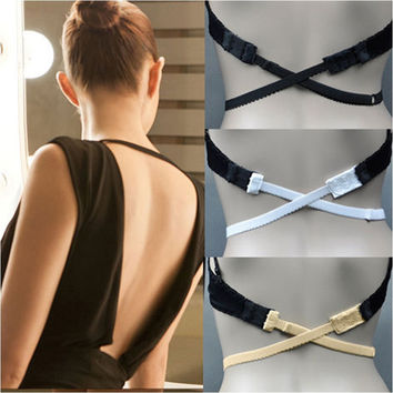 New LOW BACK BACKLESS BRA STRAP CONVERTER BRA EXTENDER 2 Hooks -include 3 colors - Black White Beige