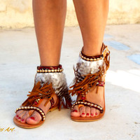 Native America Tall gladiator sandals, brown feather sandals, hippie shoes, Gladiator Sandal, boho sandals, summer boots,  festival sandal