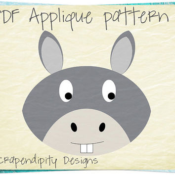 Donkey Applique Template - Farm Applique Quilt Pattern / Farm Girl Applique Shirt / Donkey Wall Hanging / Boys Donkey Farm Quilt AP258-D