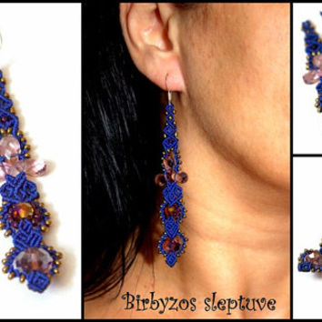 Blue Macrame Earrings with Crystals