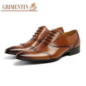 GRIMENTIN brand retro men formal shoes genuine leather toe cap carved black brown mens oxfords shoes