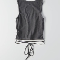 AEO Crop Tie Tank , True Black