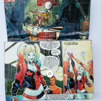Harley Quinn Mini Clutch Purse - Upcycled Comic Book - Wallet - Pouch