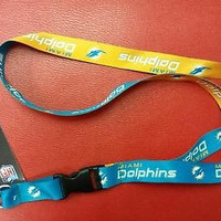 """NFL Miami Dolphins Lanyard with Detachable Buckle ( 3/4"""" W  X  22"""" L )"""