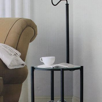 Mainstays Glass Furniture Floor Lamp (Matte Black Finish)