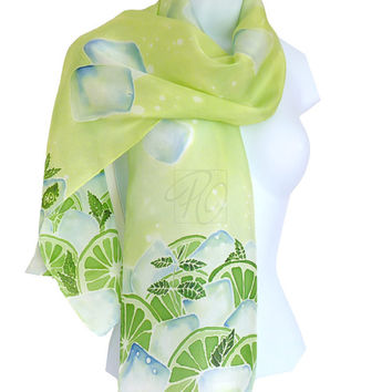 Silk Scarf Lime Margarita Hand Painted in Lime Mint Light Green Wearable Art. READY TO SHIP.