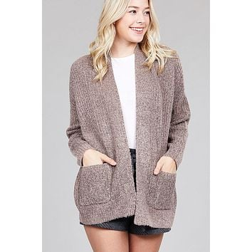 Ladies fashion dolmen sleeve open front surplice back construction sweater cardigan