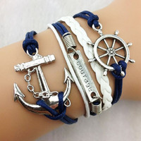 Navy & White Wheel, Anchor, Courage Bracelet