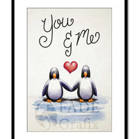 You and Me Penguins Love Valentines Motivational Wall Art Print Children's Book Illustration