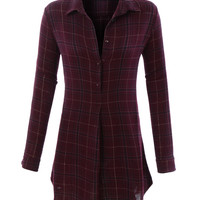 LE3NO Womens Relaxed Soft Plaid Flannel Shirtdress