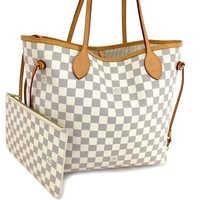 Authentic Louis Vuitton Damier Azur Neverfull MM Shoulder Tote Bag w/Pouch /q432
