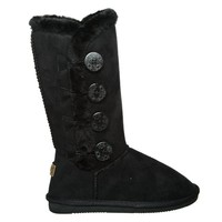 Fur Lined Mid-calf Snow Boots with Buttons (9, blackICE) [Apparel]
