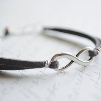Infinity bracelet-  Charcoal suede cord with silver lobster claw clasp and czech glass