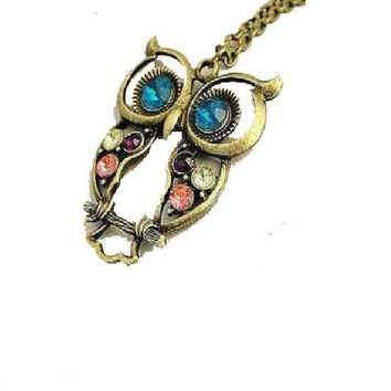 Crystal Owl Pendant Necklace For Women
