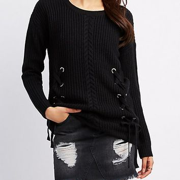 Cable Front Lace-Up Detail Sweater | Charlotte Russe