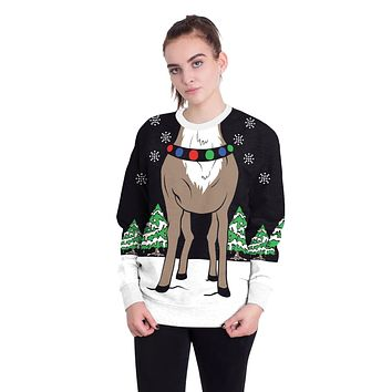 3D Reindeer Print Women Scoop Christmas Party Sweatshirt