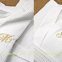 Set of 2 COUPLES MONOGRAMMED Robes, Cotton spa robes, 2 robes , Bride, Groom His, Her robe, Couples robe, Wedding , Anniversary gift