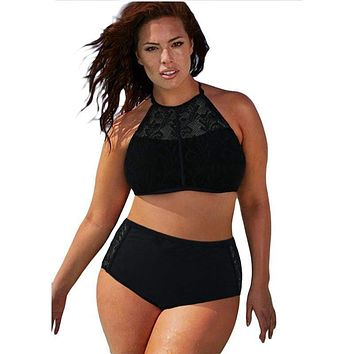 Plus Size High Waist Lace Bikini Hollow out Swimsuit Bathing Suit