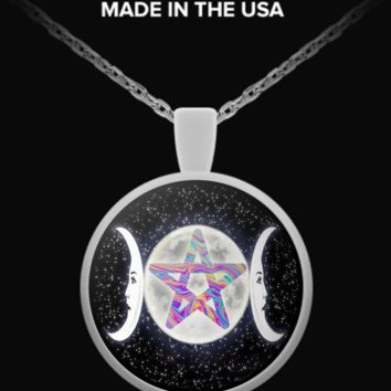 Triple Moon Goddess Multi Pentacle Necklace triplemoonnecklacemulti