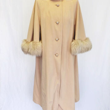 Vintage Kashmiracle 1950's Cream Beige Swing Coat Fur Trim Cape Coat Mod Jacket Maxi Coat Cloak Formal Mad Men Medium Large