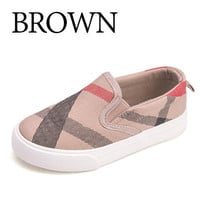 Striped Children Slip On Canvas Boys Sneakers Shoes