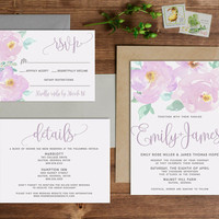 Lavender and Lilac Peony Watercolor Wedding Invitation Set-- Digital or Printed