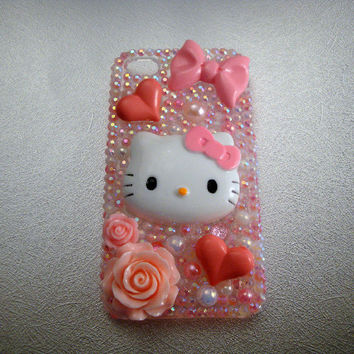 iPhone 4 Case Pink Kitty Rhinestone Bling Decoden