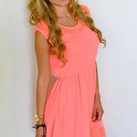 Neon Pink Backless Dress with Crochet Detail