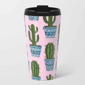 Cactus Pattern (Pink) Metal Travel Mug by Sarah Oelerich