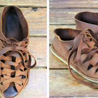 Vintage Brown Leather Lace Up Sandals
