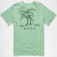 Rvca Palm Trees Mens T-Shirt Green  In Sizes