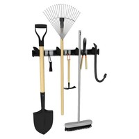 Wall Mount 4 Position with 3 Hooks Mop Broom Cleaning Tools Holder Hanger Organizer Garden Tool Storage Laundry Room Organization High Quality Aluminum Organizer (Size: 51cm by 5cm, Color: Black)