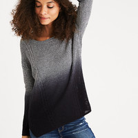 AEO Mixed Stitch Cable Sweater, Gray