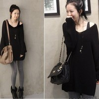 Free Size Women/Girl Black Bat-Wing Sleeves Loose and Comfortable Sweater@T655b