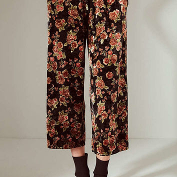Light Before Dark Floral Velvet Culotte Pant | Urban Outfitters