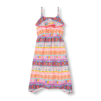Girls Sleeveless Geo Tribal Print Ruffle Hanky Hem Dress | The Children's Place