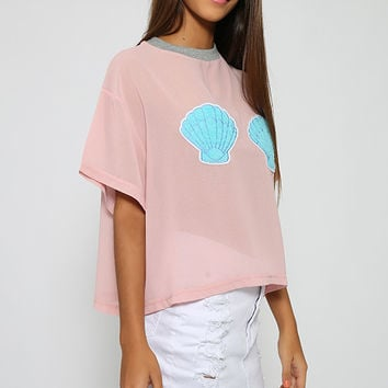 Lazy Oaf - Clam Shell Crop Tee - Pink