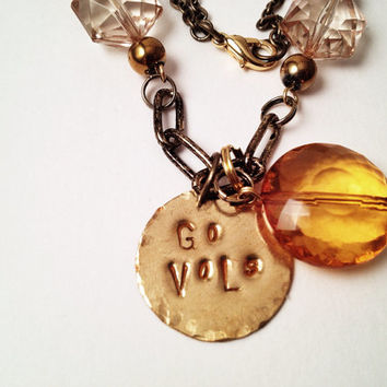 Tennessee Volunteers hand stamped necklace by MynisaUnique on Etsy
