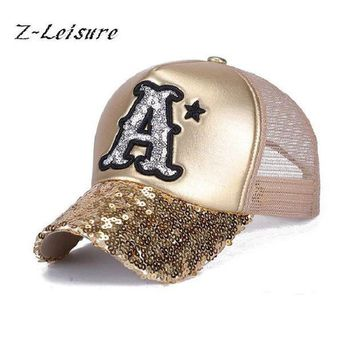 PEAPU3S 2017 Summer Hat Baseball Cap Sequins Bling Hinning Mesh Caps Adjustable Fashion Women Girls Hats Snapback Casual Gorra  BC037