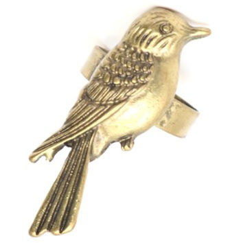 Perched Sparrow Ring Adjustable Gold Tone RE18 Wildlife Bird Animal Fashion Jewelry