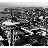 Space Needle construction and Waterfront Photograph - Seattle, WA Art Print at Art.com
