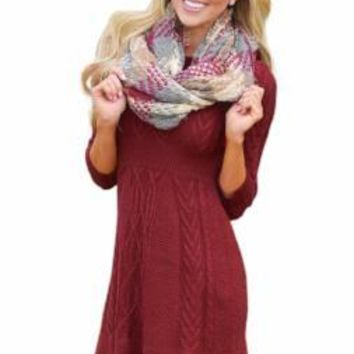 Burgundy Santa Baby 3/4 Sleeve Sweater Dress