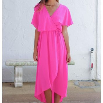 Neon fuchsia plunging neckline dress with waist tie | Whitley | escloset.com