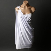 Grecian Goddess Strapless OR One-Shoulder Evening Womens Party Dress sz S/M/L