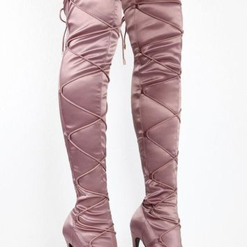 Laura Light Purple Lace Up Cinch Thigh High Open Toe High Heel Boots