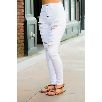 Maddie White Wash Distressed Jeans