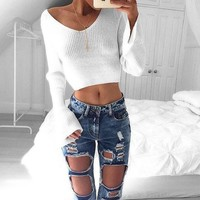 Fashion Casual Women Knitted Sweaters Pullovers Autumn Winter Long Sleeve Crop Sweater Slim Solid Knitted Sweater Female GV355 D