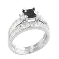 Black Solitaire Ring Womens 2 Pc Wedding Engagement Set