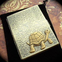 Brass Turtle Cigarette Case Gothic Victorian Steampunk Vintage Style Antiqued Gold Brass Finish Large Metal Card Holder Smoking Gifts